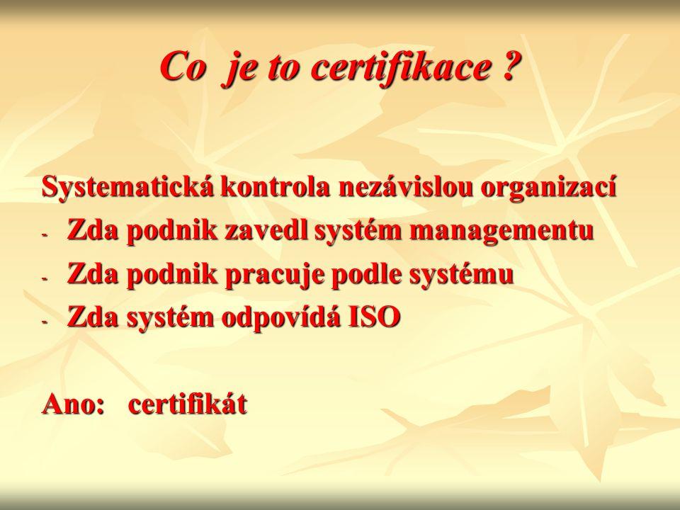 Co je to certifikace Systematická kontrola nezávislou organizací