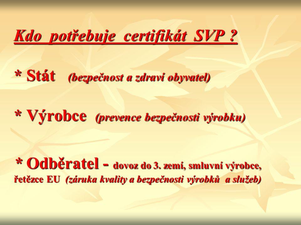 Kdo potřebuje certifikát SVP. Stát (bezpečnost a zdraví obyvatel)
