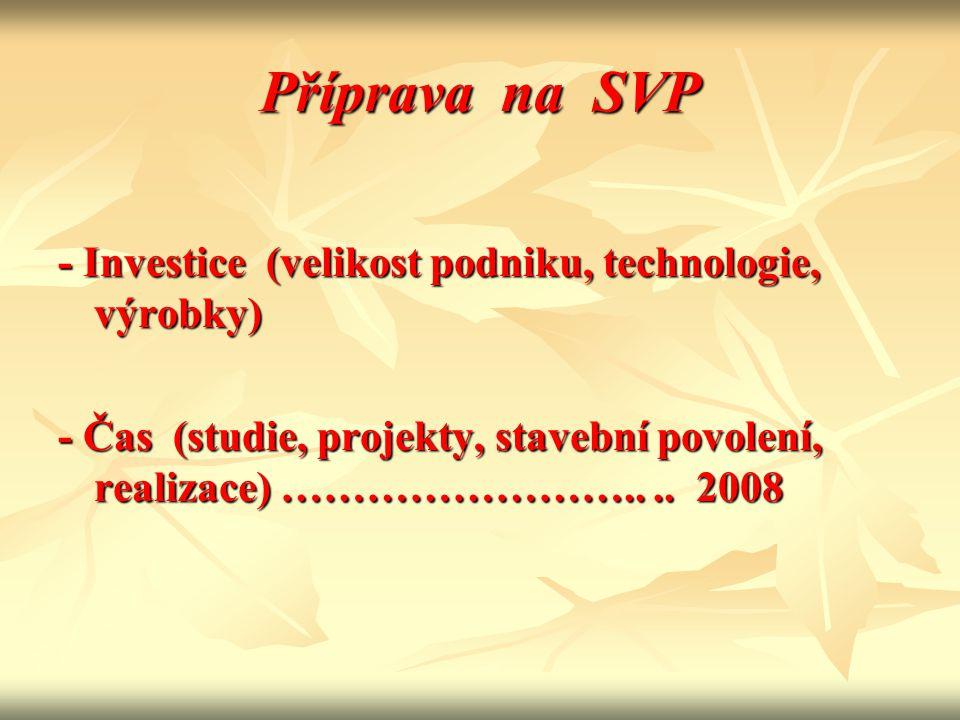 Příprava na SVP - Investice (velikost podniku, technologie, výrobky)