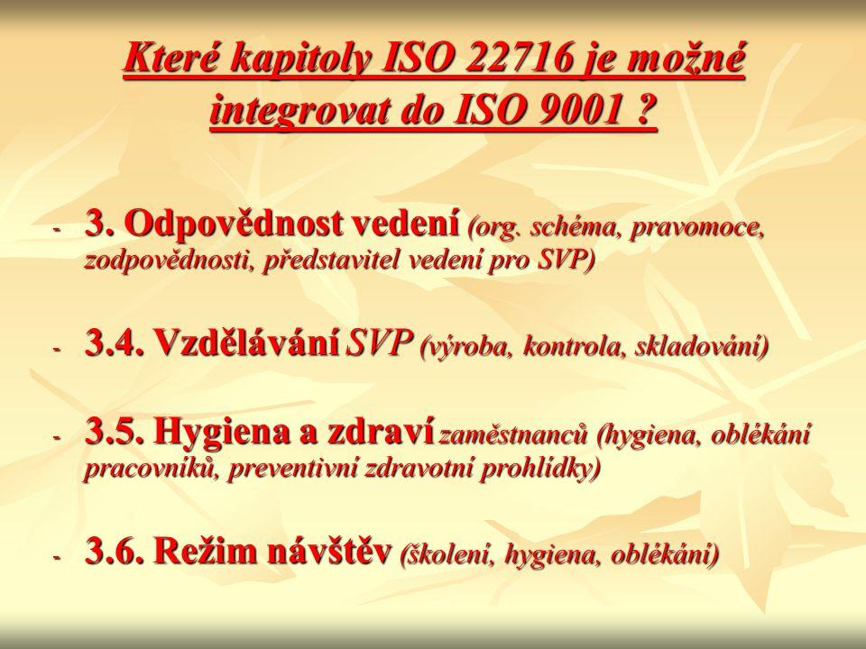 Které kapitoly ISO 22716 je možné integrovat do ISO 9001
