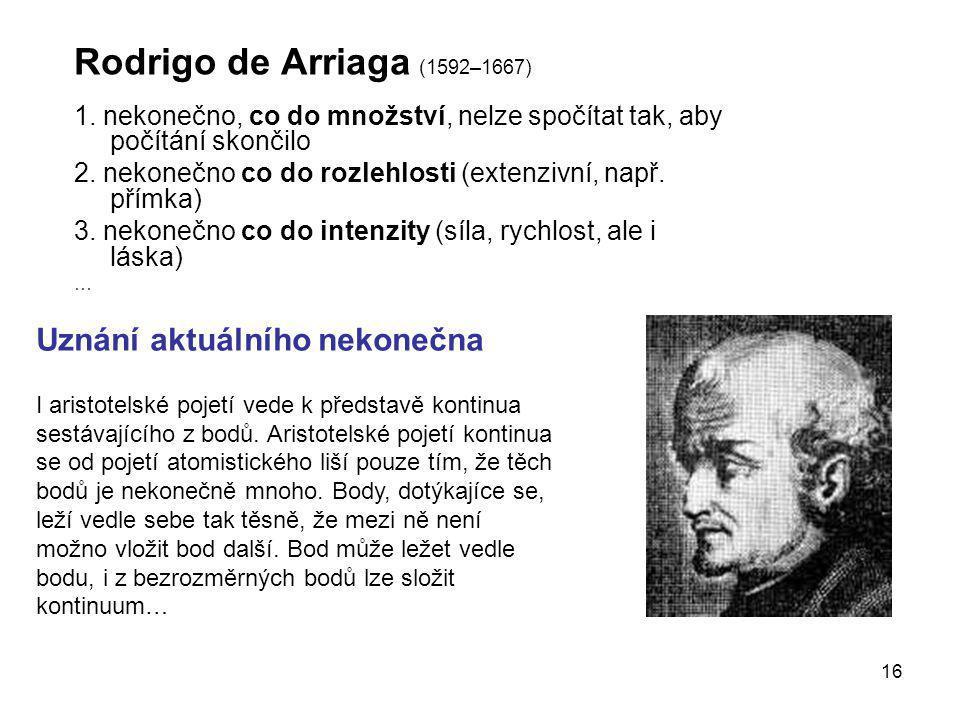 Rodrigo de Arriaga (1592–1667) Uznání aktuálního nekonečna