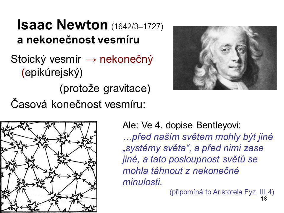 Isaac Newton (1642/3–1727) a nekonečnost vesmíru