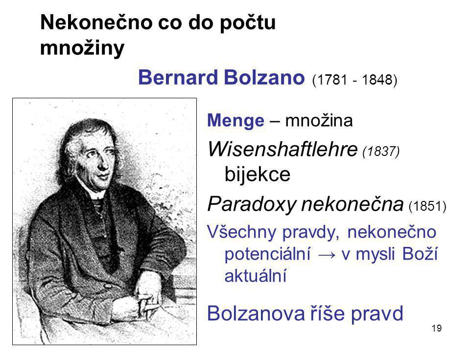 Nekonečno co do počtu množiny Bernard Bolzano (1781 - 1848)