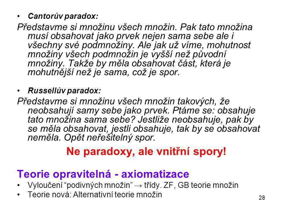 Ne paradoxy, ale vnitřní spory!