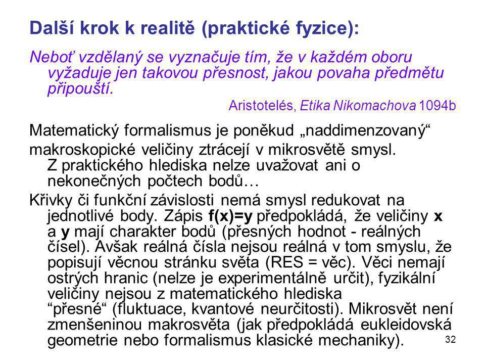 Další krok k realitě (praktické fyzice):