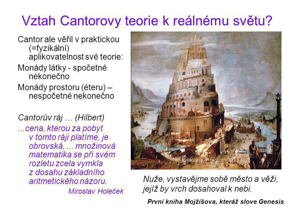 Vztah Cantorovy teorie k reálnému světu