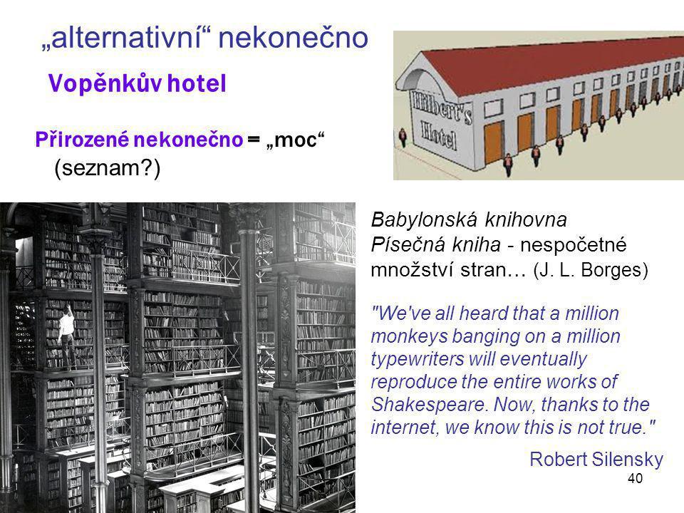 """""""alternativní nekonečno Vopěnkův hotel"""
