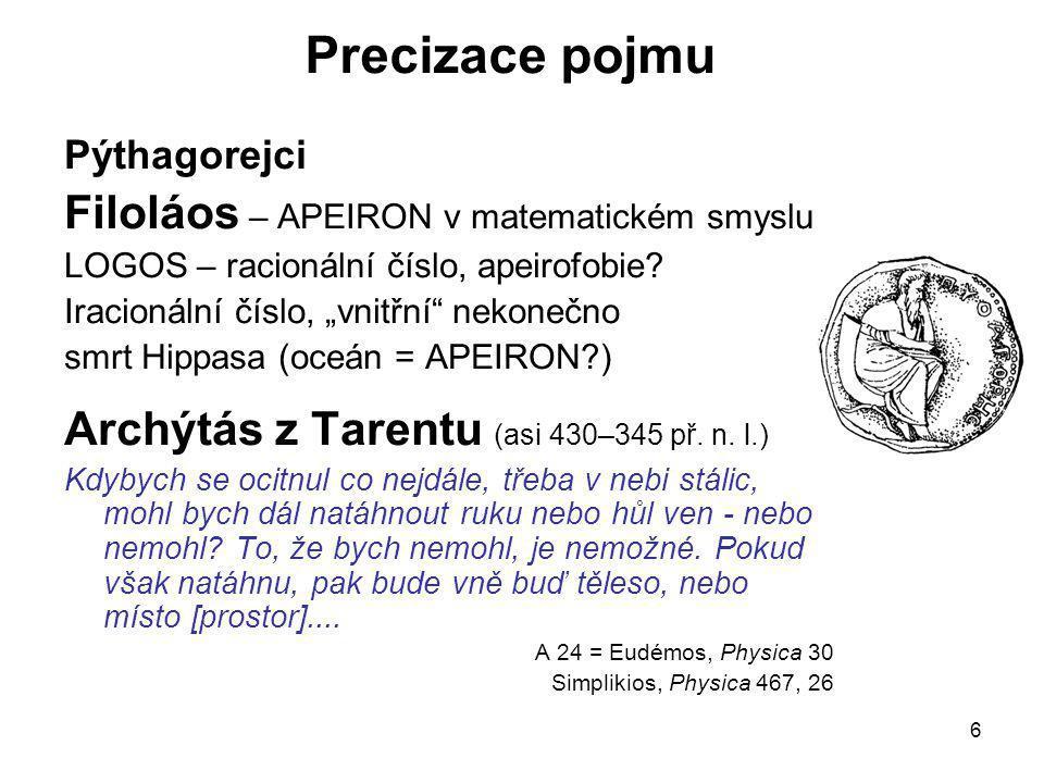Precizace pojmu Filoláos – APEIRON v matematickém smyslu