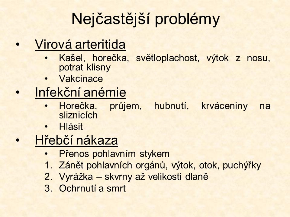 Nejčastější problémy Virová arteritida Infekční anémie Hřebčí nákaza