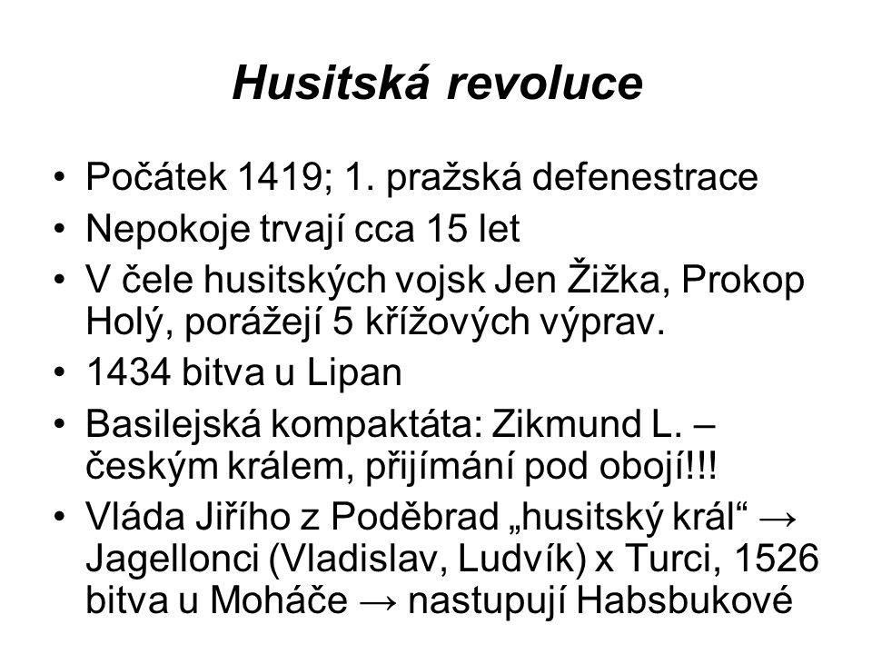 Husitská revoluce Počátek 1419; 1. pražská defenestrace
