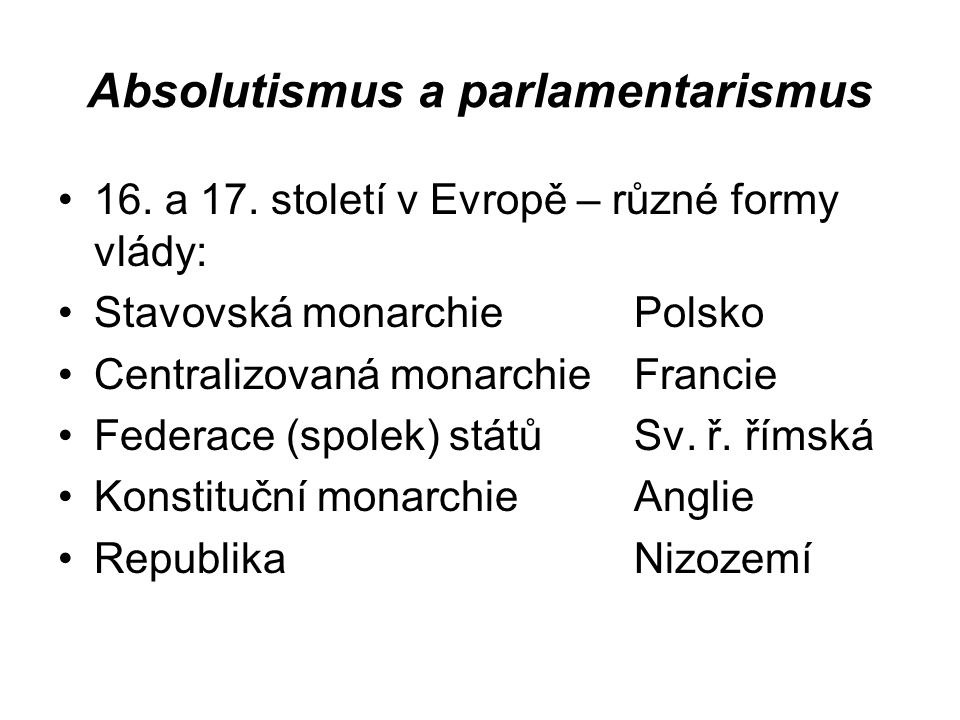 Absolutismus a parlamentarismus