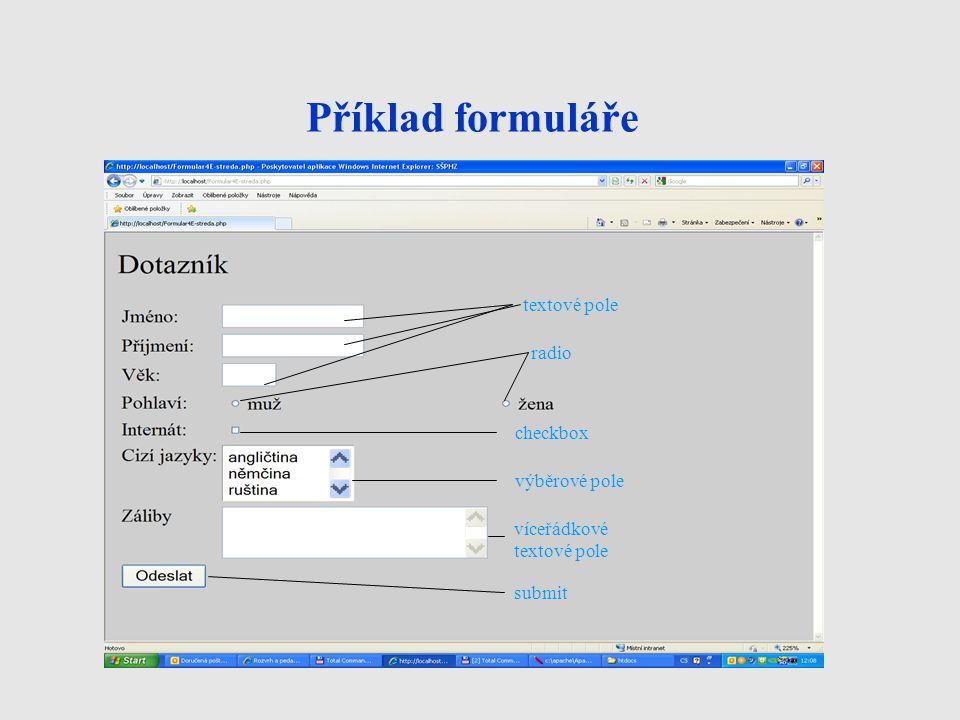 Příklad formuláře textové pole radio checkbox výběrové pole