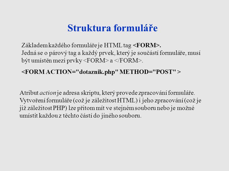 Struktura formuláře