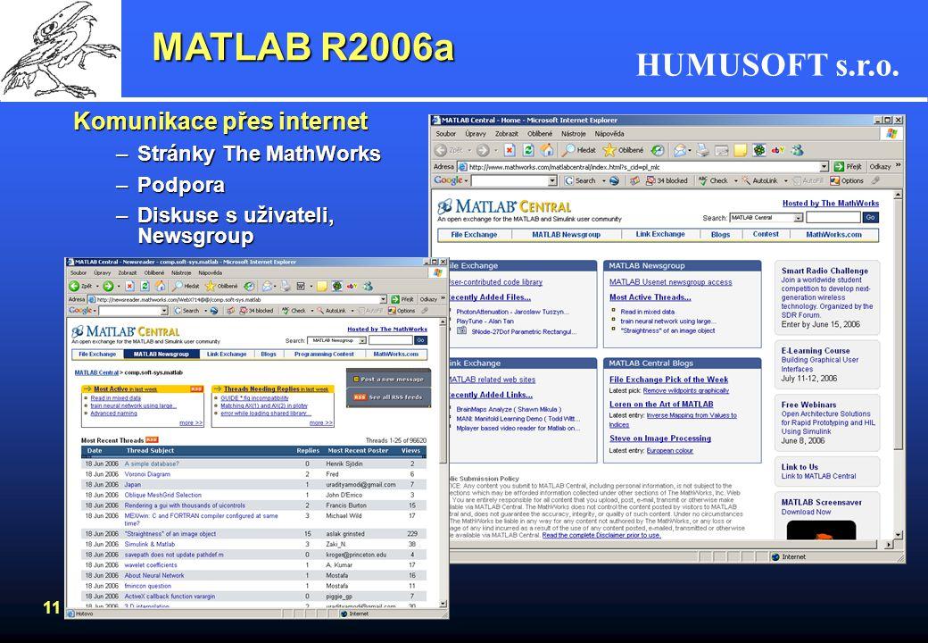 MATLAB R2006a Komunikace přes internet Stránky The MathWorks Podpora
