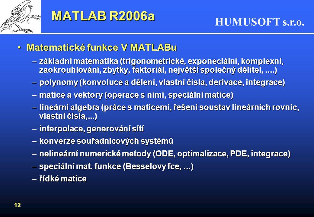 MATLAB R2006a Matematické funkce V MATLABu