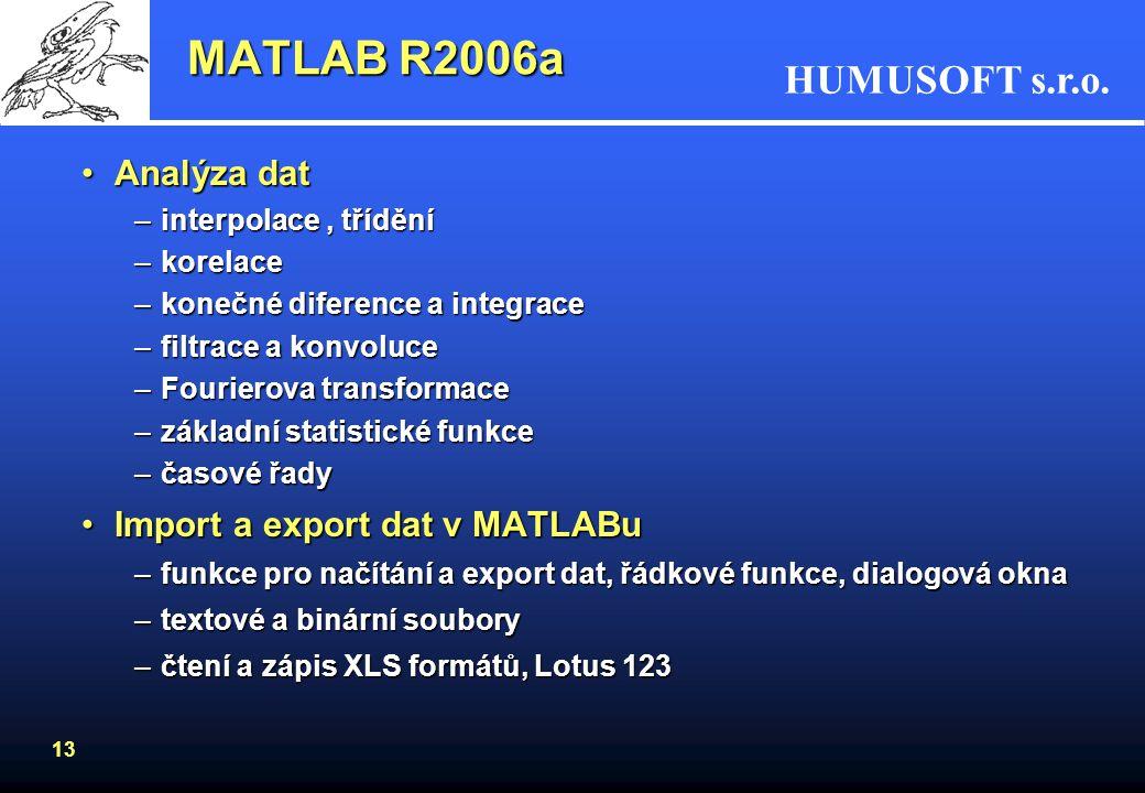 MATLAB R2006a Analýza dat Import a export dat v MATLABu