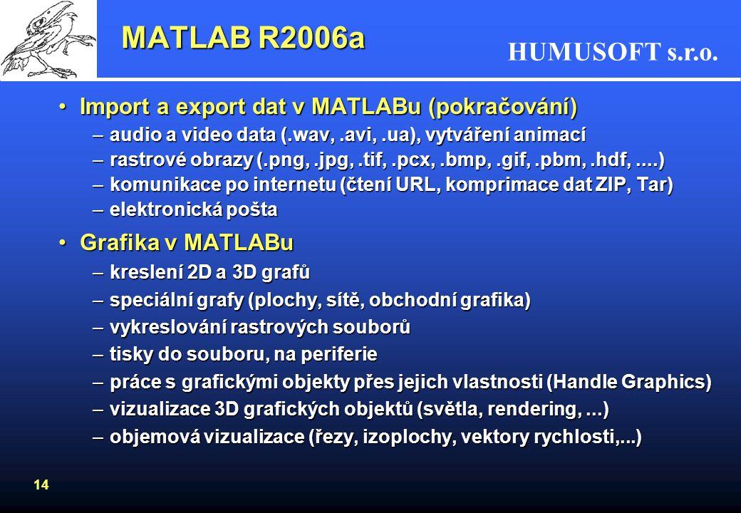 MATLAB R2006a Import a export dat v MATLABu (pokračování)