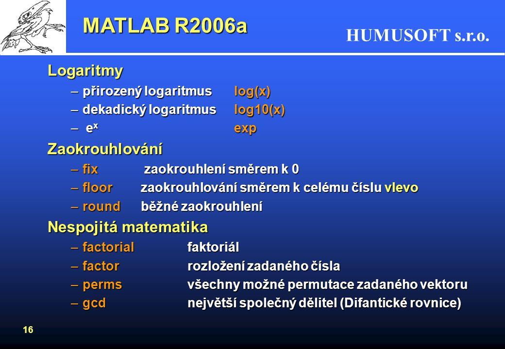 MATLAB R2006a Logaritmy Zaokrouhlování Nespojitá matematika