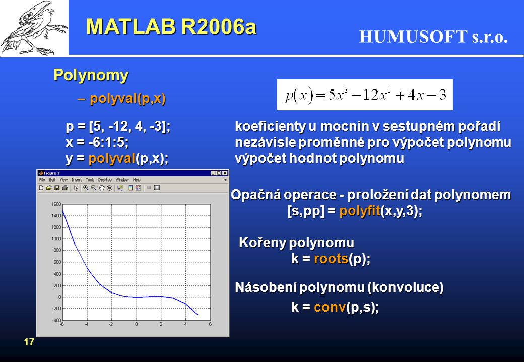 MATLAB R2006a Polynomy polyval(p,x)