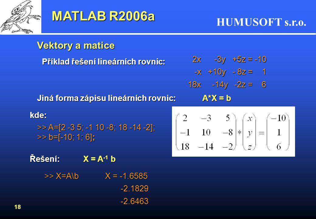 MATLAB R2006a Vektory a matice 2x -3y +5z = -10 -x +10y - 8z = 1
