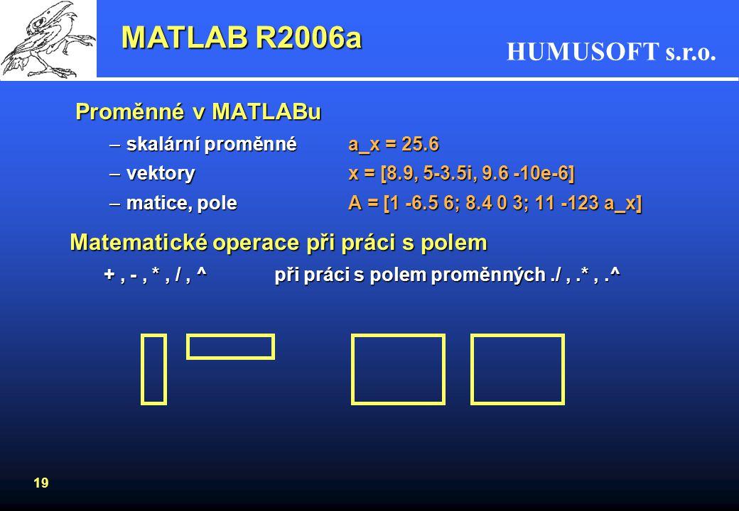 MATLAB R2006a Proměnné v MATLABu Matematické operace při práci s polem