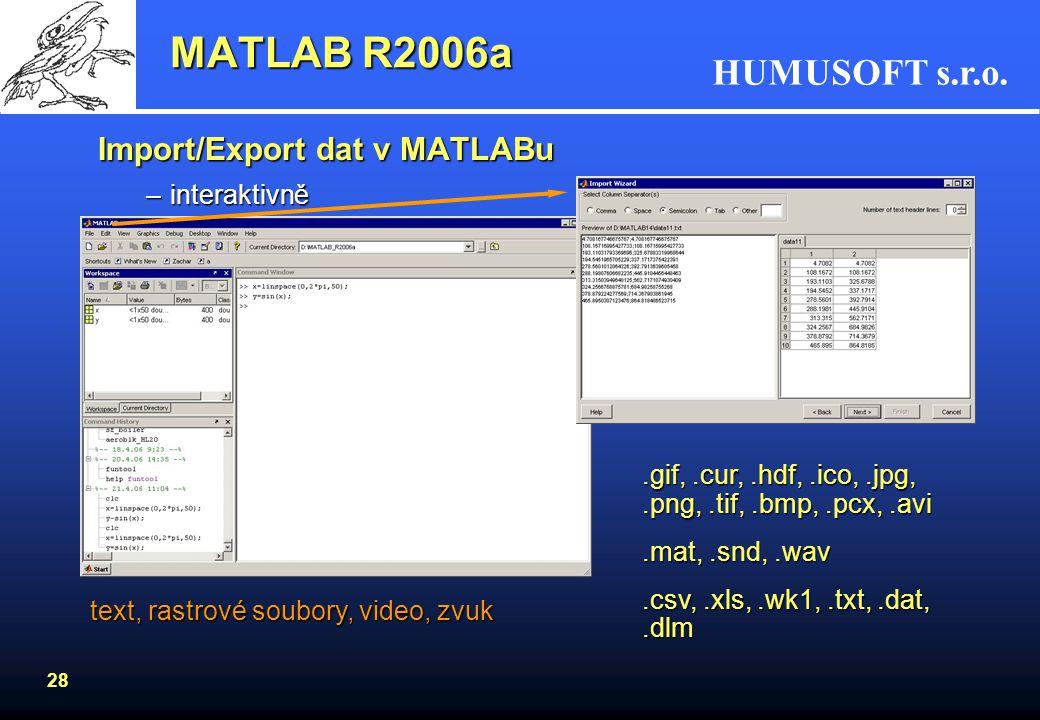 MATLAB R2006a Import/Export dat v MATLABu interaktivně