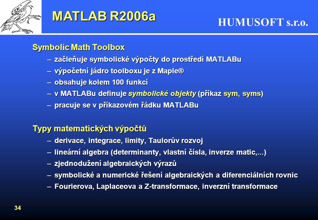 MATLAB R2006a Symbolic Math Toolbox Typy matematických výpočtů
