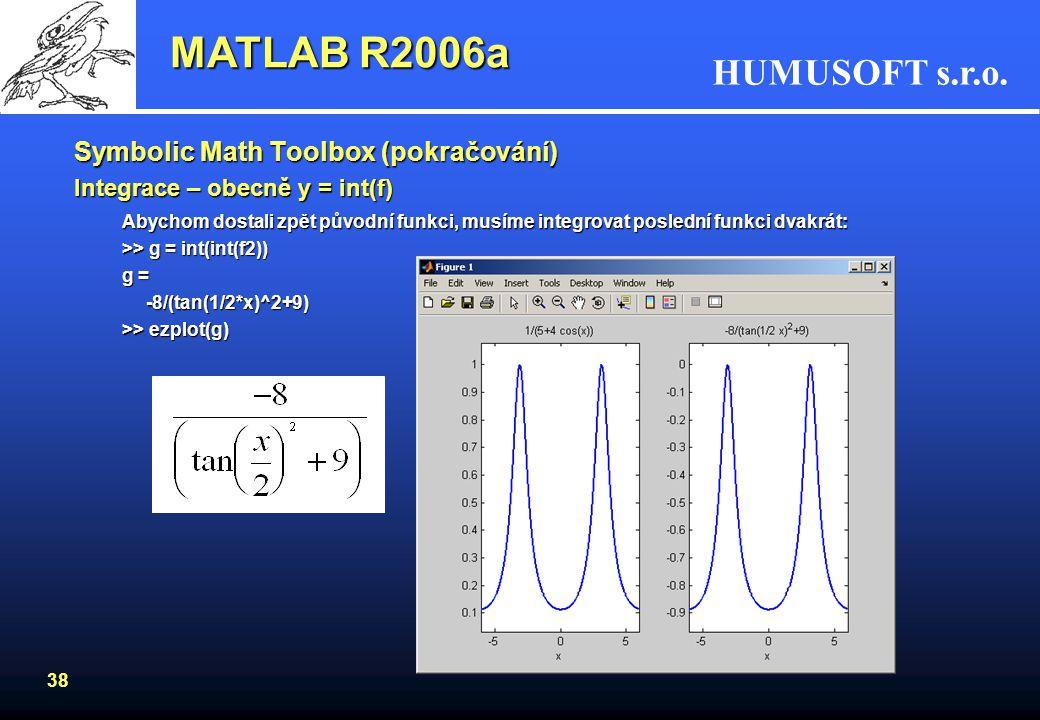 MATLAB R2006a Symbolic Math Toolbox (pokračování)