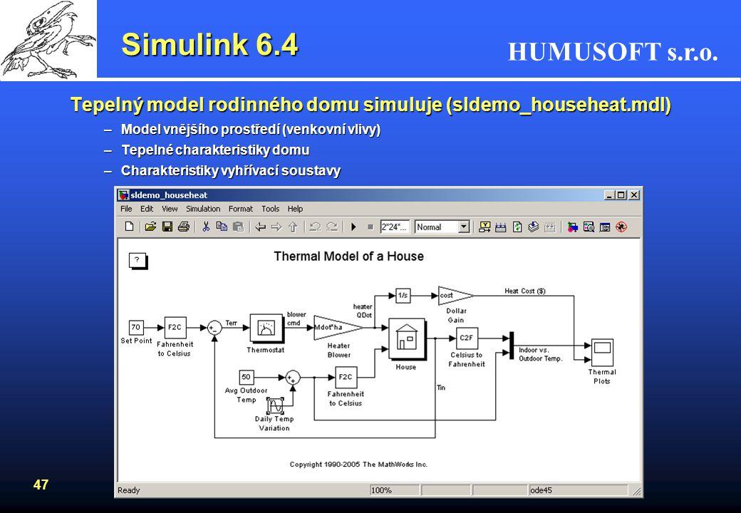 Simulink 6.4 Tepelný model rodinného domu simuluje (sldemo_househeat.mdl) Model vnějšího prostředí (venkovní vlivy)
