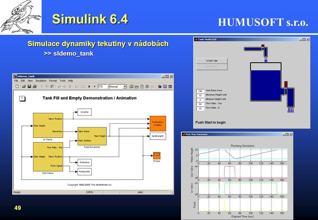 Simulink 6.4 Simulace dynamiky tekutiny v nádobách
