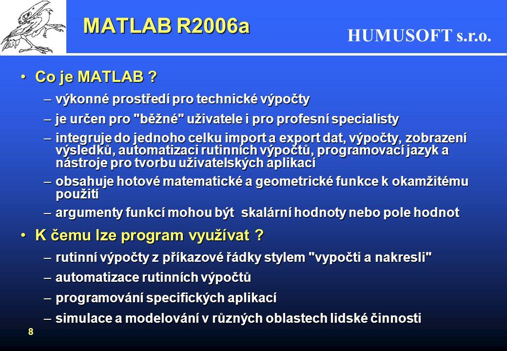 MATLAB R2006a Co je MATLAB K čemu lze program využívat