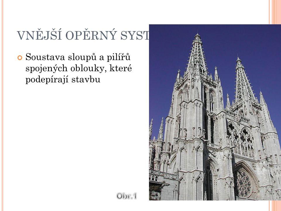VNĚJŠÍ OPĚRNÝ SYSTÉM Soustava sloupů a pilířů spojených oblouky, které podepírají stavbu Obr.1