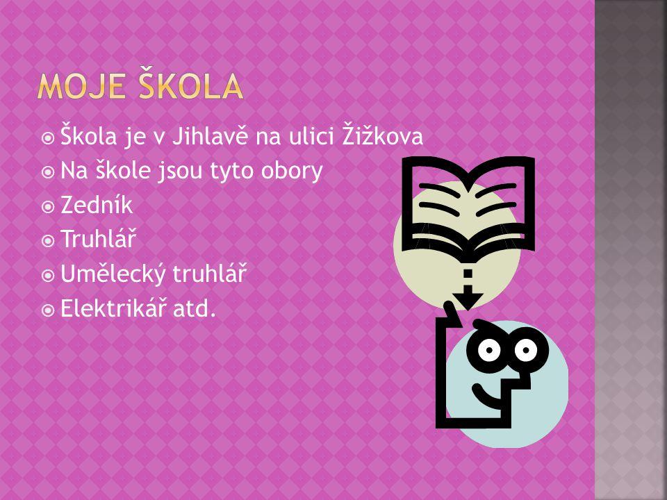 Moje škola Škola je v Jihlavě na ulici Žižkova