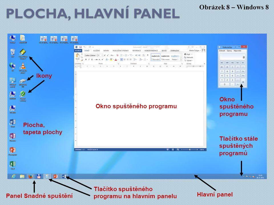 Plocha, hlavní panel Obrázek 8 – Windows 8 Ikony