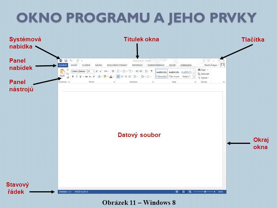 Okno programu a jeho prvky