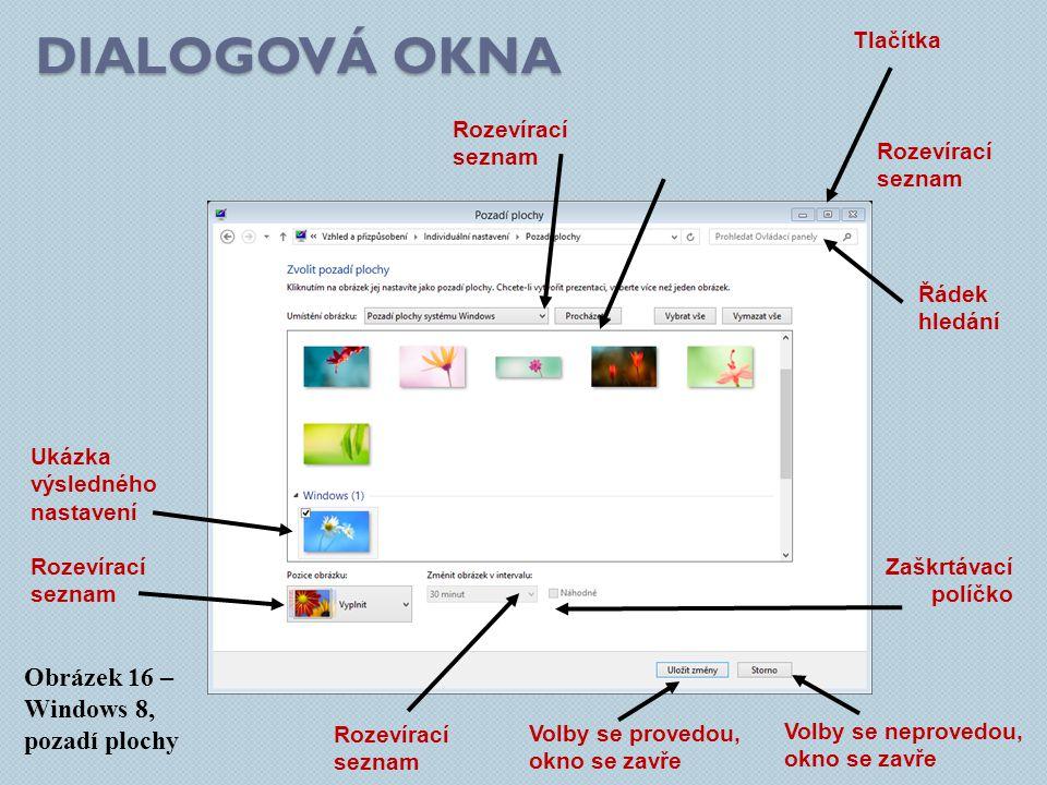 Dialogová okna Obrázek 16 – Windows 8, pozadí plochy Tlačítka