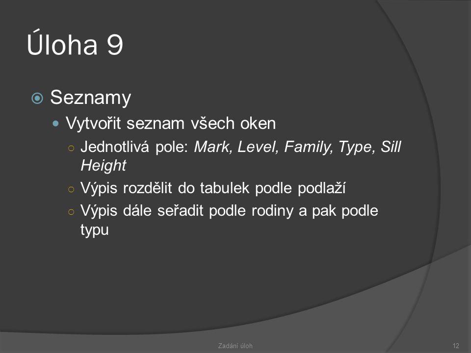 Úloha 9 Seznamy Vytvořit seznam všech oken