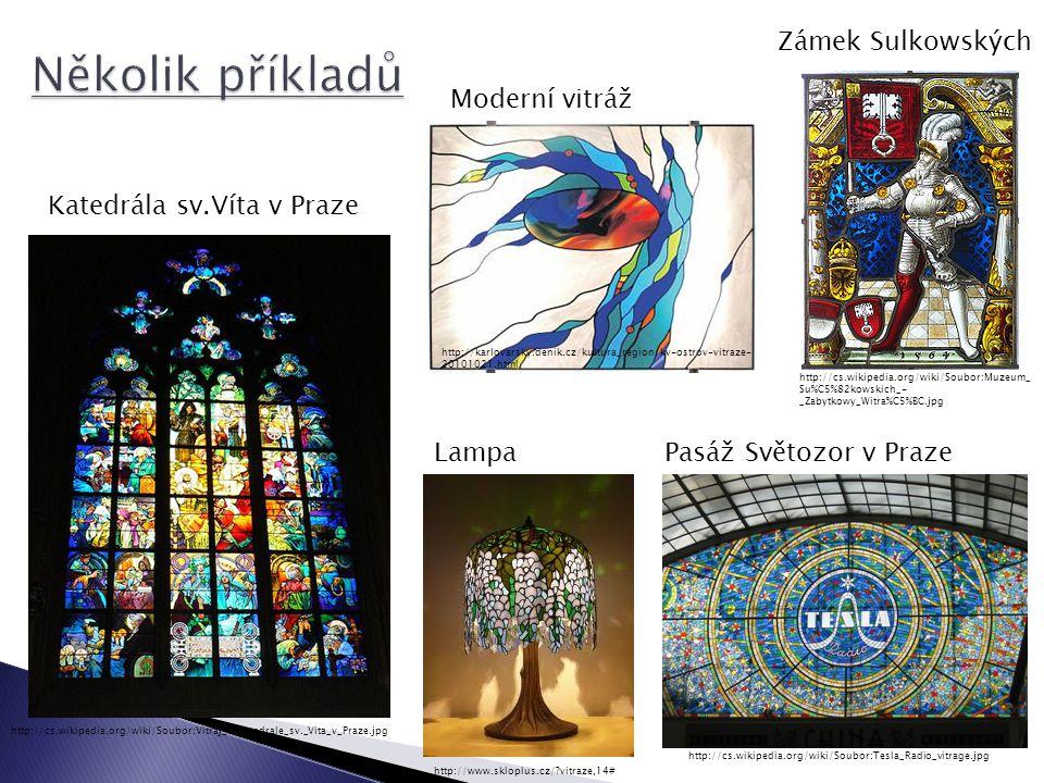 Několik příkladů Zámek Sulkowských Moderní vitráž