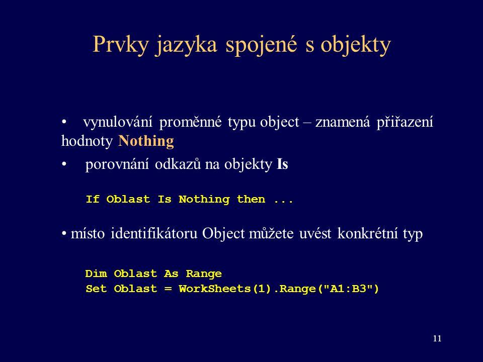 Prvky jazyka spojené s objekty