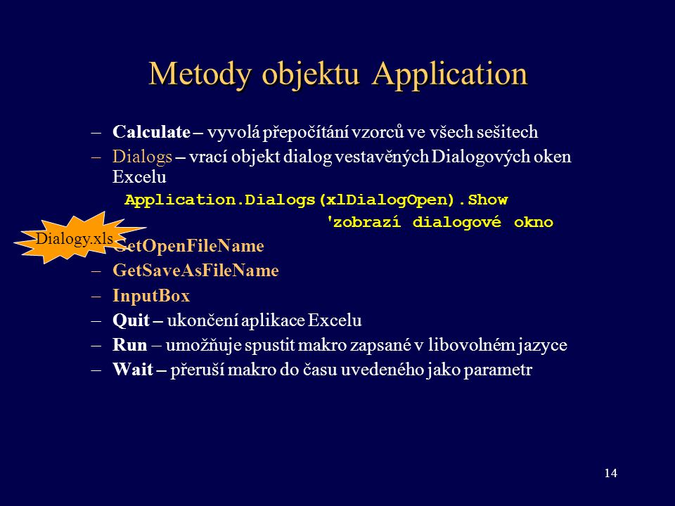Metody objektu Application
