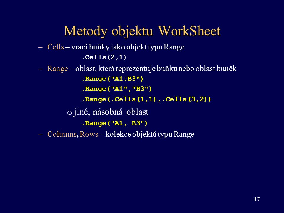 Metody objektu WorkSheet