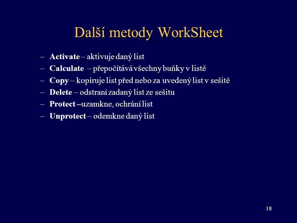 Další metody WorkSheet