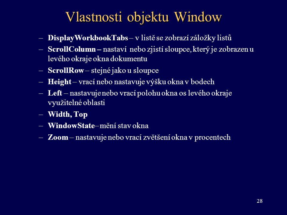 Vlastnosti objektu Window