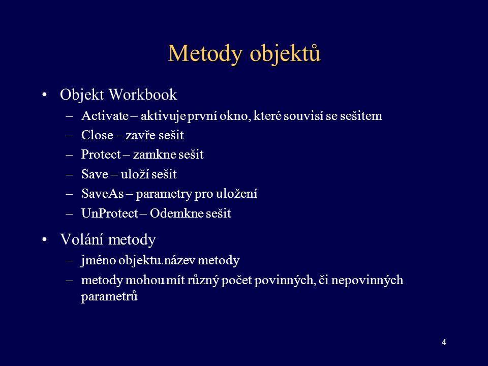 Metody objektů Objekt Workbook Volání metody