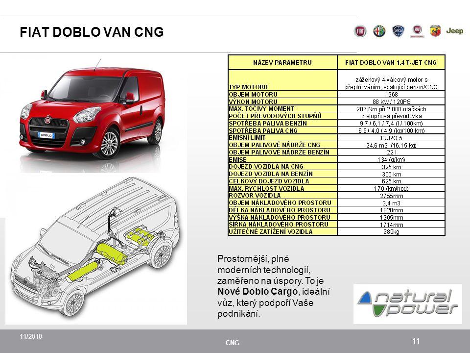 FIAT DOBLO VAN CNG Prostornější, plné moderních technologií, zaměřeno na úspory.