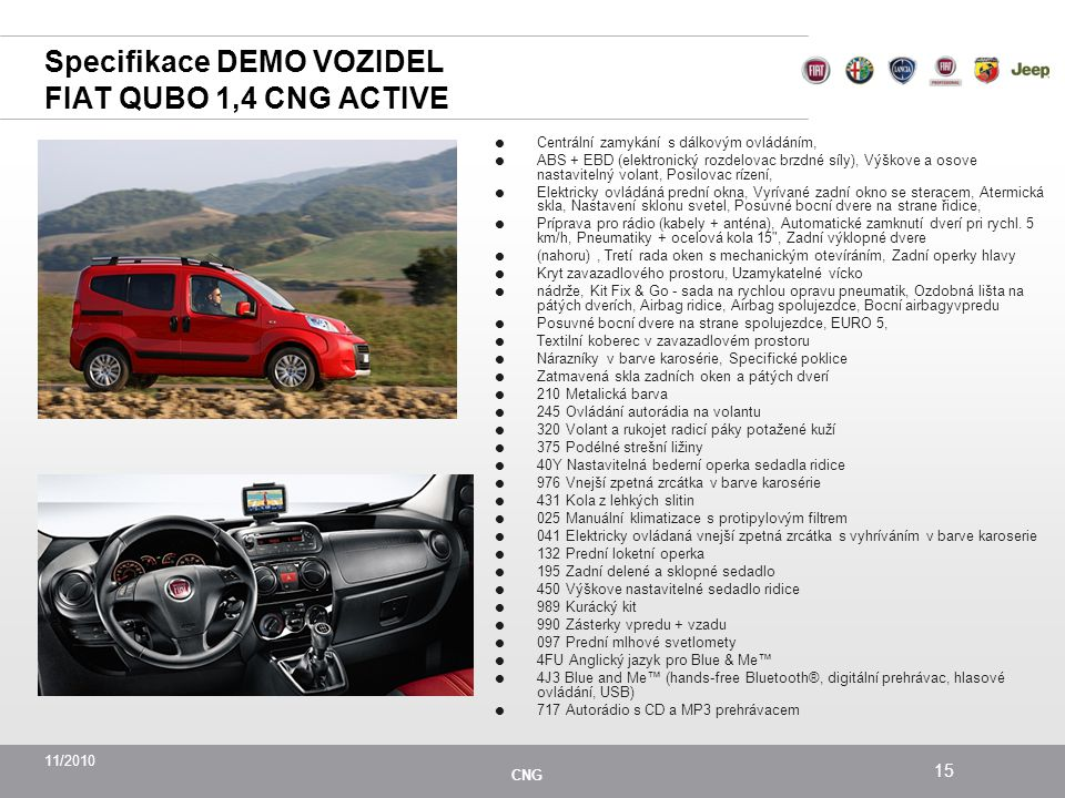 Specifikace DEMO VOZIDEL FIAT QUBO 1,4 CNG ACTIVE