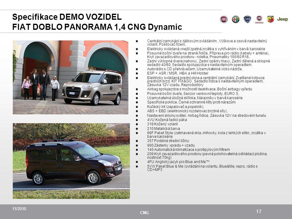 Specifikace DEMO VOZIDEL FIAT DOBLO PANORAMA 1,4 CNG Dynamic