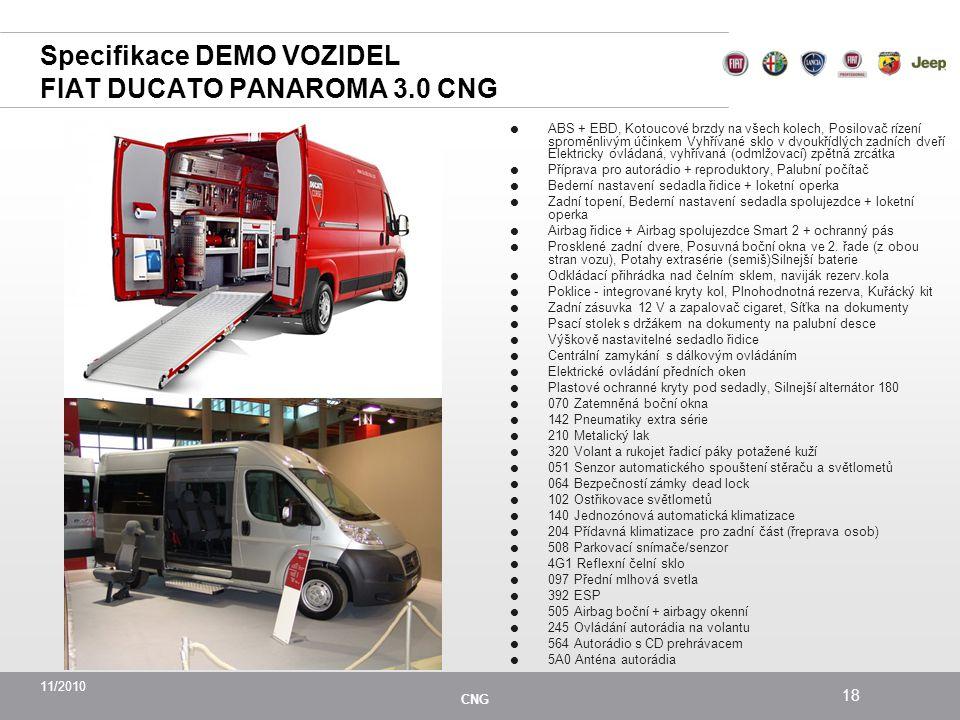 Specifikace DEMO VOZIDEL FIAT DUCATO PANAROMA 3.0 CNG