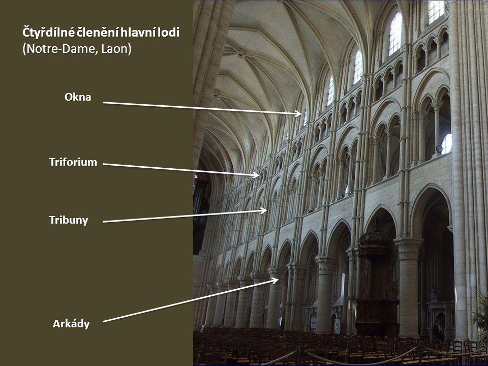 Čtyřdílné členění hlavní lodi (Notre-Dame, Laon)