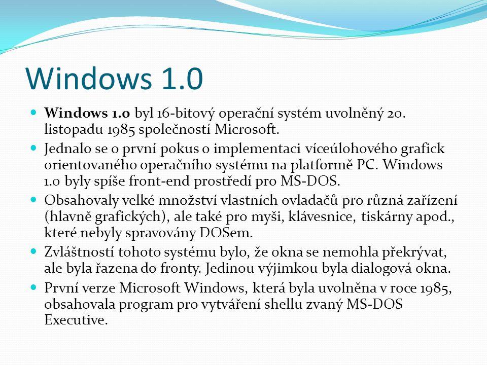 Windows 1.0 Windows 1.0 byl 16-bitový operační systém uvolněný 20. listopadu 1985 společností Microsoft.